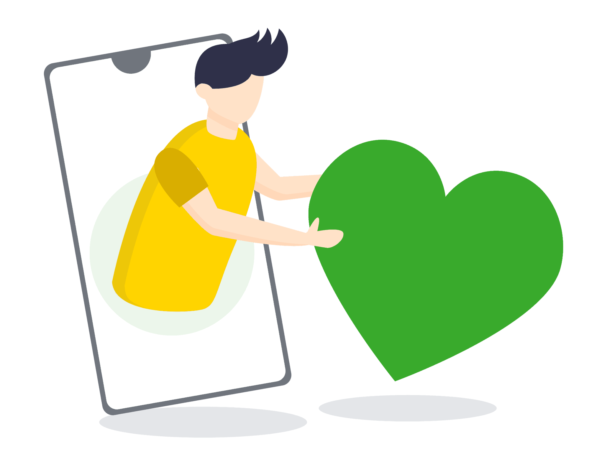 cartoon man coming out of phone with green heart