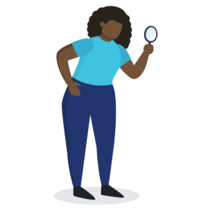 cartoon woman holding magnifying glass