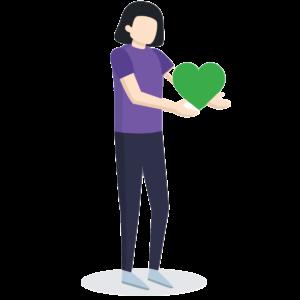 cartoon holding a green hear
